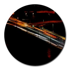 Highway Night Lighthouse Car Fast Round Mousepads