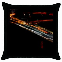 Highway Night Lighthouse Car Fast Throw Pillow Case (black) by Amaryn4rt