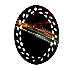 Highway Night Lighthouse Car Fast Ornament (oval Filigree)