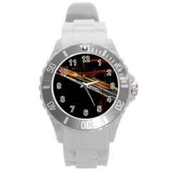 Highway Night Lighthouse Car Fast Round Plastic Sport Watch (l) by Amaryn4rt