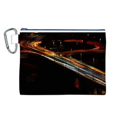 Highway Night Lighthouse Car Fast Canvas Cosmetic Bag (l)