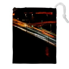 Highway Night Lighthouse Car Fast Drawstring Pouches (xxl) by Amaryn4rt