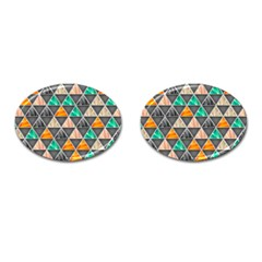 Abstract Geometric Triangle Shape Cufflinks (oval) by Amaryn4rt
