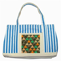 Abstract Geometric Triangle Shape Striped Blue Tote Bag by Amaryn4rt
