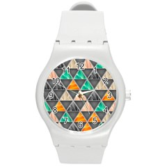 Abstract Geometric Triangle Shape Round Plastic Sport Watch (m) by Amaryn4rt