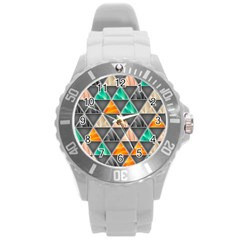 Abstract Geometric Triangle Shape Round Plastic Sport Watch (l) by Amaryn4rt