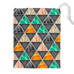 Abstract Geometric Triangle Shape Drawstring Pouches (xxl) by Amaryn4rt