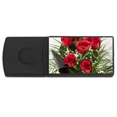 Red Roses Roses Red Flower Love Usb Flash Drive Rectangular (4 Gb) by Amaryn4rt