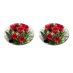 Red Roses Roses Red Flower Love Cufflinks (oval) by Amaryn4rt