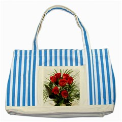 Red Roses Roses Red Flower Love Striped Blue Tote Bag by Amaryn4rt