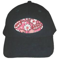 Flower Floral Red Blush Pink Black Cap by Alisyart