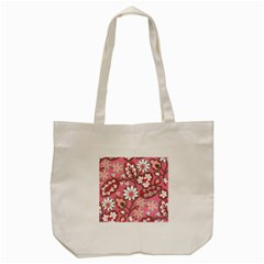 Flower Floral Red Blush Pink Tote Bag (cream) by Alisyart