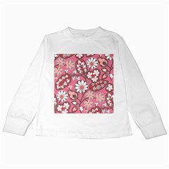 Flower Floral Red Blush Pink Kids Long Sleeve T Shirts