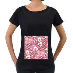 Flower Floral Red Blush Pink Women s Loose-Fit T-Shirt (Black) by Alisyart