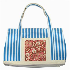Flower Floral Red Blush Pink Striped Blue Tote Bag by Alisyart