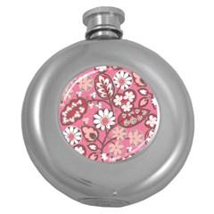 Flower Floral Red Blush Pink Round Hip Flask (5 Oz) by Alisyart