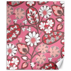 Flower Floral Red Blush Pink Canvas 8  X 10  by Alisyart