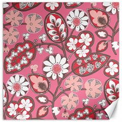 Flower Floral Red Blush Pink Canvas 12  X 12   by Alisyart