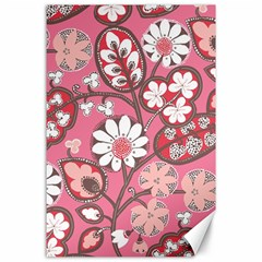 Flower Floral Red Blush Pink Canvas 24  X 36  by Alisyart