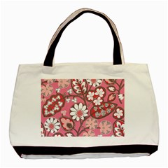 Flower Floral Red Blush Pink Basic Tote Bag (two Sides) by Alisyart