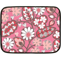 Flower Floral Red Blush Pink Double Sided Fleece Blanket (mini)  by Alisyart