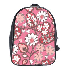Flower Floral Red Blush Pink School Bags(large)  by Alisyart