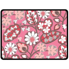 Flower Floral Red Blush Pink Fleece Blanket (large)  by Alisyart