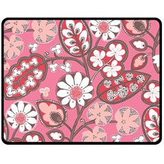 Flower Floral Red Blush Pink Fleece Blanket (medium)  by Alisyart