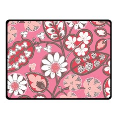 Flower Floral Red Blush Pink Fleece Blanket (small) by Alisyart