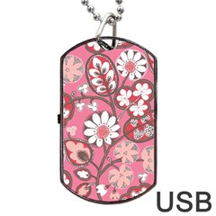 Flower Floral Red Blush Pink Dog Tag Usb Flash (one Side) by Alisyart