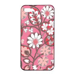 Flower Floral Red Blush Pink Apple Iphone 4/4s Seamless Case (black) by Alisyart