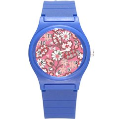 Flower Floral Red Blush Pink Round Plastic Sport Watch (s) by Alisyart