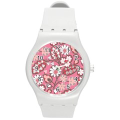 Flower Floral Red Blush Pink Round Plastic Sport Watch (m) by Alisyart