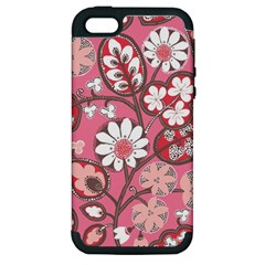 Flower Floral Red Blush Pink Apple Iphone 5 Hardshell Case (pc+silicone) by Alisyart