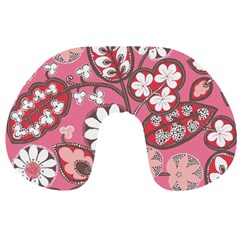 Flower Floral Red Blush Pink Travel Neck Pillows by Alisyart