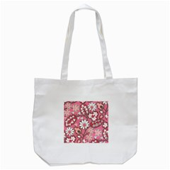 Flower Floral Red Blush Pink Tote Bag (white) by Alisyart