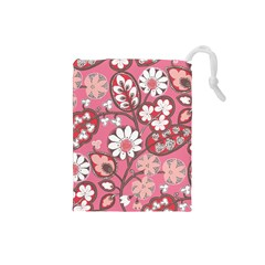 Flower Floral Red Blush Pink Drawstring Pouches (small)  by Alisyart