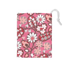 Flower Floral Red Blush Pink Drawstring Pouches (medium)  by Alisyart