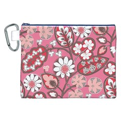 Flower Floral Red Blush Pink Canvas Cosmetic Bag (xxl) by Alisyart
