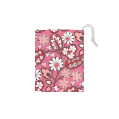Flower Floral Red Blush Pink Drawstring Pouches (xs)  by Alisyart