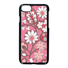 Flower Floral Red Blush Pink Apple Iphone 7 Seamless Case (black) by Alisyart