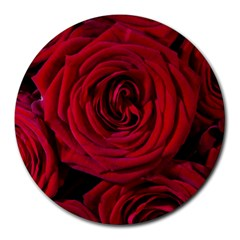 Roses Flowers Red Forest Bloom Round Mousepads