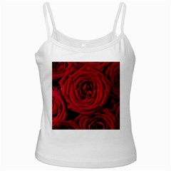 Roses Flowers Red Forest Bloom White Spaghetti Tank by Amaryn4rt