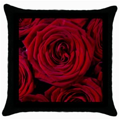 Roses Flowers Red Forest Bloom Throw Pillow Case (Black)