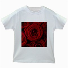 Roses Flowers Red Forest Bloom Kids White T Shirts by Amaryn4rt