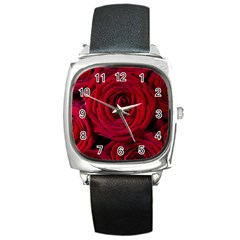 Roses Flowers Red Forest Bloom Square Metal Watch by Amaryn4rt