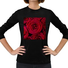 Roses Flowers Red Forest Bloom Women s Long Sleeve Dark T-Shirts