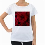 Roses Flowers Red Forest Bloom Women s Loose-Fit T-Shirt (White)