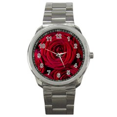 Roses Flowers Red Forest Bloom Sport Metal Watch by Amaryn4rt