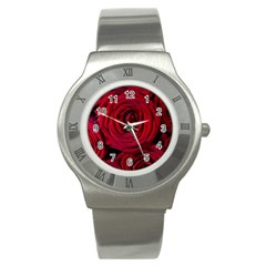 Roses Flowers Red Forest Bloom Stainless Steel Watch